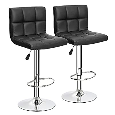 Furmax Black Leather Bar Stools Counter Height Modern Adjustable Synthetic Leather Swivel Bar Stool,Set of 2