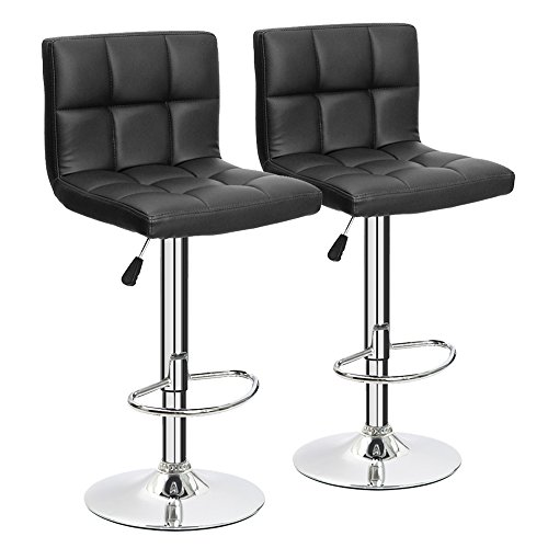 Cool Furmax Black Leather Bar Stools Counter Height Modern Machost Co Dining Chair Design Ideas Machostcouk