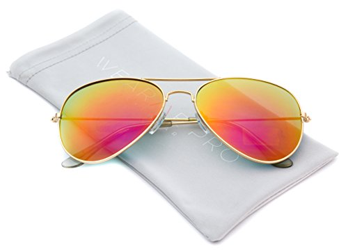 Premium Polarized Mirrored Aviator Sunglasses w/ Flash Mirror Lens