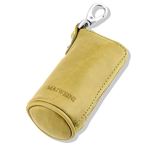 (Multi Soft Genuine Leather Coin Purse Pouch, Car Key Case Wallet with Zipper,Pocket Wallet with Chain/Ring for Men Women (Light Green))