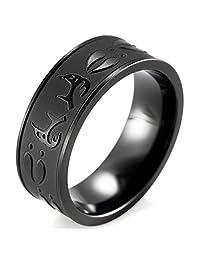 SHARDON Men's 8mm Plating Black Titanium Ring with Embossed Deer Antlers and Footprints