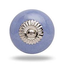 Ceramic Medium Turquoise Zini Knob Chrome Finish Barbara Kitchen Cabinet Cupboard Door Knobs Dressser Wardrobe and Drawer Pull By Trinca-Ferro
