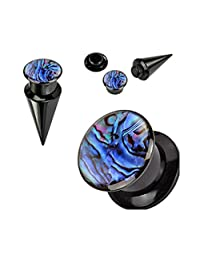 Pair Of 2-In-1 Interchangable Black Acrylic Screw Fit Tapers With Abalone Insert