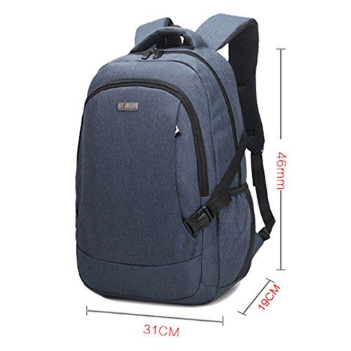Wewod Bolsos del estudiante del paquete del negocio de la computadora del paquete del ocio del morral del bolso de hombro de los hombres y mujeres 31 cm * 46 cm * 19 cm (Rojo) Azul