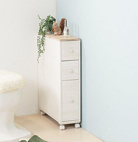 トイレラック トイレ収納 薄型 完成品 コンパクト スリム アンティーク ホワイト 白 キャスター付き B079GVNDQ5