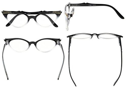 Transparente 00 Eyekepper Gris Negro mujer gafas Lens sol cateyes para de 0 OAOPqH