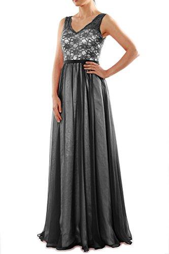 Lace Evening Formal Dress Long Schwarz Two V Bridesmaid Gown Tone Neck MACloth Women wXOqgOU