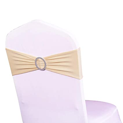 SINSSOWL Pack of 50PCS Elastic Slider Chair Sashes Spandex Chair Cover Band Bows for Wedding Decoration-Champagne