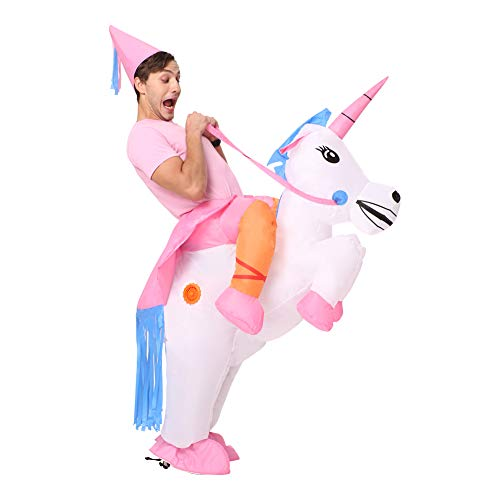 Unicorn Halloween Costume For Adults (Decalare Inflatable Unicorn T-REX/Horse/Sumo Wrestler Wrestling Suits Costume Halloween Party Blow up Costumes Adult/Kids)
