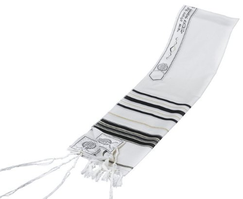 Black & Gold 100% Wool Kosher Tallit Prayer Shawl 24