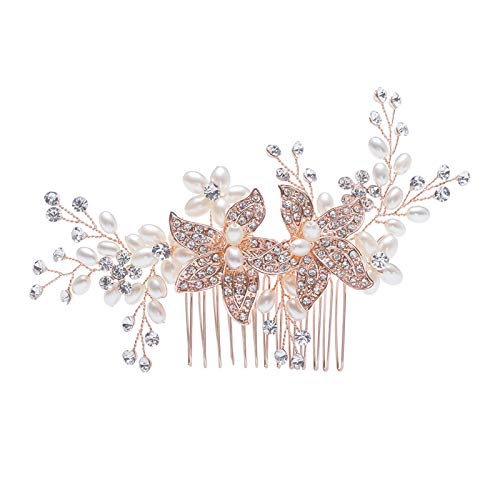 SWEETV Rose Gold Wedding Hair Comb Crystal Pearl Rhinestone Side Comb-Handmade Flower Bridal Hair Accessories Headpiece for brides and bridesmaids -
