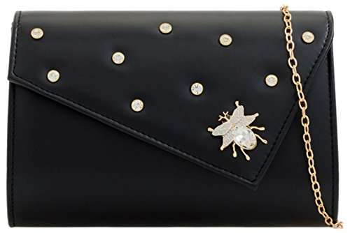Girly Bug Gemstone Clutch HandBags HandBags Bag Black Girly OqdCqI