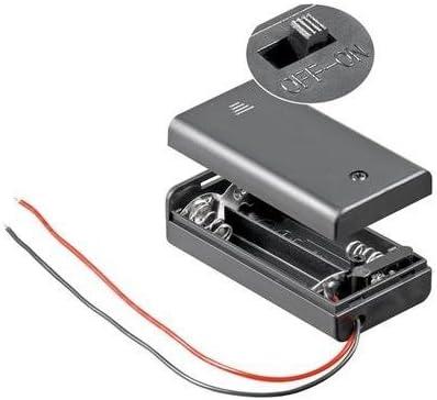 Portapilas para 2 Pilas LR6 AA con Interruptor, Cablepelado