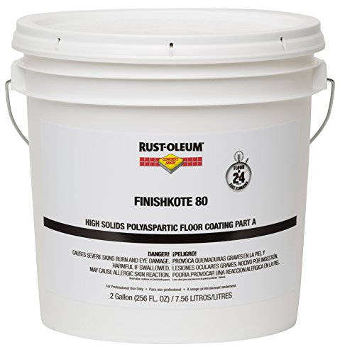 Rust-Oleum 283567 Clear FinishKote Concrete Saver 80 High Solids Polyaspartic Floor Coating, Part A, 2 gal Can (Professional Floor Coating Garage)