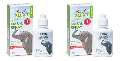 XLEAR Kid's Nasal Spray (Pack of 2) With Xylitol, Saline, Purified Water and Grapefruit Seed Extract, To Moisturize and Soothe Children's Nose and Sinuses While Alleviating Congestion, .75 fl. oz. by Xlear