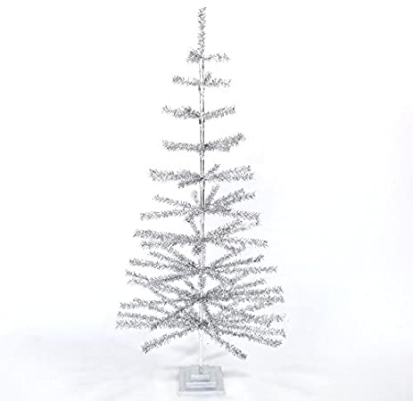 36 retro silver tinsel christmas tree 3ft vintage feather style xmass holiday seasonal home decor - Silver Tinsel Christmas Tree