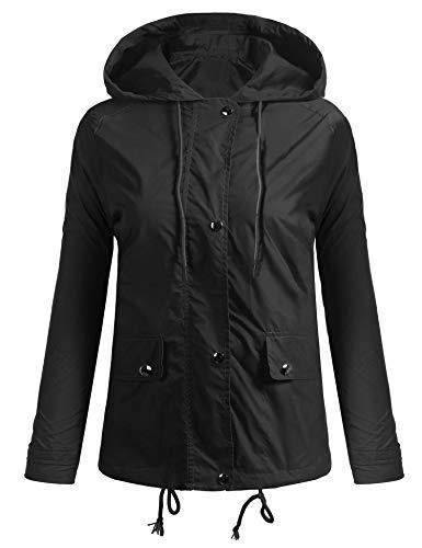 Coorun giacca di pioggia casuale del cappotto del manicotto lunga con cappuccio casuale delle nuove donne Noir 352