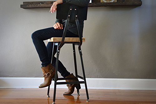 Steel Backrest - Reclaimed Wood Stool | Steel Backrest | Salvaged Barn Wood Seat