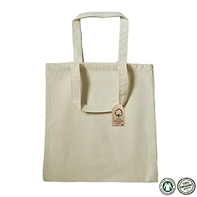"100% Certified Organic Cotton Tote Bag 15""W x 16""H Blank Cotton Tote Bag Organic Bags in Bulk Safe Environment Friendly Organic Cotton Canvas Reusable Grocery Shopping Tote Bags - OR100 (Pack of 12)"