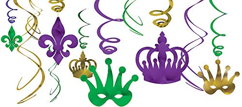 Mardi Gras Party Foil Swirl Value Pack Hanging Decorating Kit -