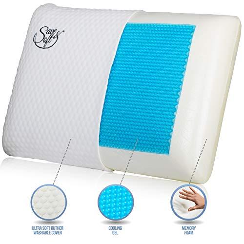 Gel Memory Foam Pillow for Men Women - Ergonomic Bed Orthopedic Pillow...