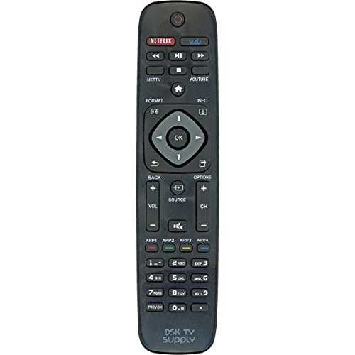 DSK TV Supply Remote Control for Philips LCD/ LED TVs (Replaces URMT39JHG001, URMT39JHG002, URMT39JHG003, URMT41JHG003, URMT41JHG006, URMT41JHG010) by DSK TV Supply