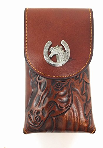 Texas A&m Clip - Western Cowboy Medium Size Genuine Leather Horse Head Smartphone Galaxy Iphone Holder Holster Cellphone Case (Brown)