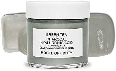 Model off Duty Beauty Clarifying Age Reverse Mask | Detoxifying Anti Aging Pore Minimizing Creamy Face Mask | Acne Scar Treatment w/Activated Charcoal, Green Tea, Hyaluronic Acid, Vitamin B, C, E 2oz