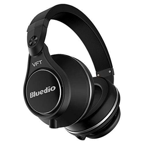 Bluedio U Plus (UFO) Pro Extra Bass Wireless Bluetooth PPS12 Drivers Over-Ear DJ Headphones (Black) by Bluedio