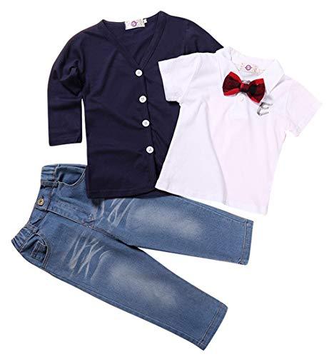 La Vogue Kids Boys 3Pcs Clothes Set Short Sleeve Polo Shirt+Cardigans+Jeans School Casual Outfits Clothing Set/18-24Months