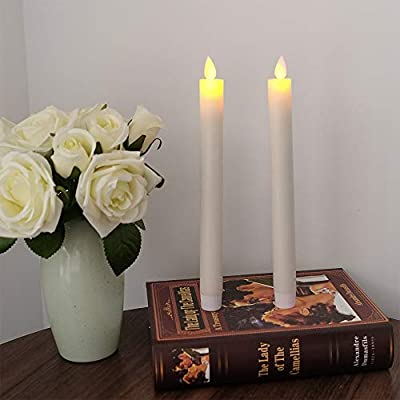 """Eldnacele Flameless Flickering Taper Candles Moving Wick Window Candles with Remote Control Timer, Warm White Real Wax Unscented 9.5""""2 Pack Ivory for Christmas: Home Improvement"""