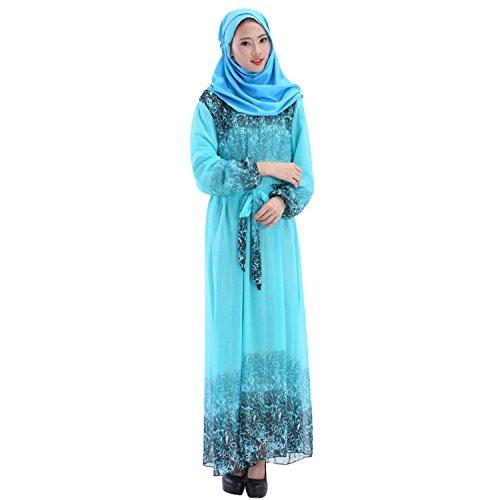 Dress Chiffon Islamic Abaya Jilbab Muslim Lora Light Aro Women's Maxi Blue Efq8tI
