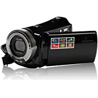Digital Video Camera 2.7 Black 16X Digital Zoom Anti-shake Face Detection Self-time Mode AV Output Black