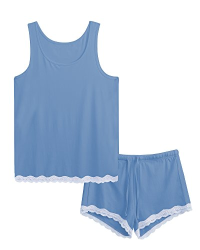 GYS Women's Bamboo Pajama Tank and Shorts Set (S, Sky Blue) (Cami Fringe)