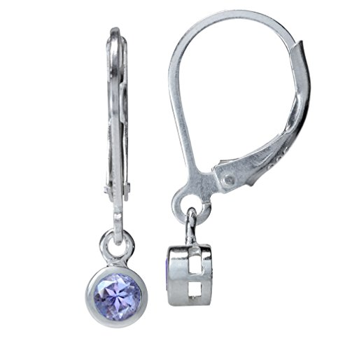 (3mm Extra Petite Genuine Round Shape Tanzanite 925 Sterling Silver Leverback Dangle Earrings)