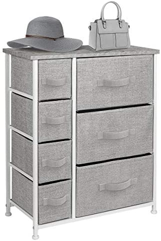 Sorbus Dresser with Drawers – Furniture Storage Tower Unit for Bedroom, Hallway, Closet, Office Organization – Steel Frame, Wood Top, Easy Pull Fabric Bins (Gray)