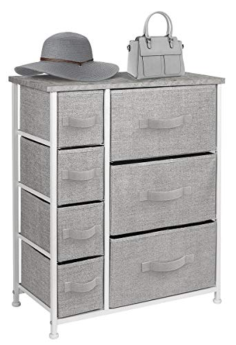 Sorbus Dresser with Drawers - Furniture Storage Tower Unit for Bedroom, Hallway, Closet, Office Organization - Steel Frame, Wood Top, Easy Pull Fabric Bins (7-Drawer, Gray)