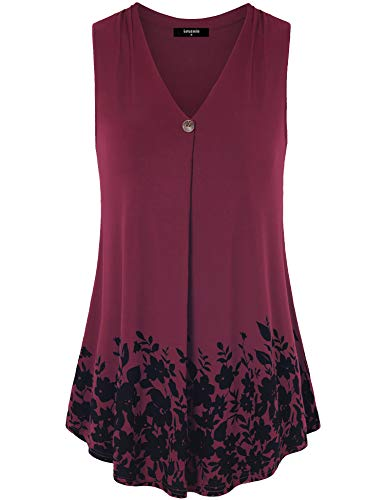 for Leggings for Women, Ladies Summmer Fashion Casual Fit and Flare Sleeveless Tunic Shirts Elegant Floral Print Camisole Tank Top with Wooden Button,Wine Red L ()