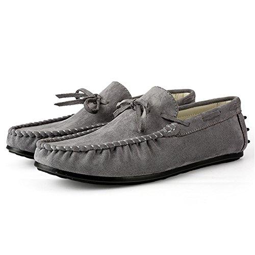Mocassini Guida Leader In Pelle Scamosciata Da Uomo Casual Slip On Boat Shoes Grigio