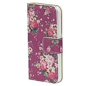 LCJ Pink Peony Pattern Wallet Stand Leather Case with Credit ID Card Slots Fit for iPhone 5G/5/5S