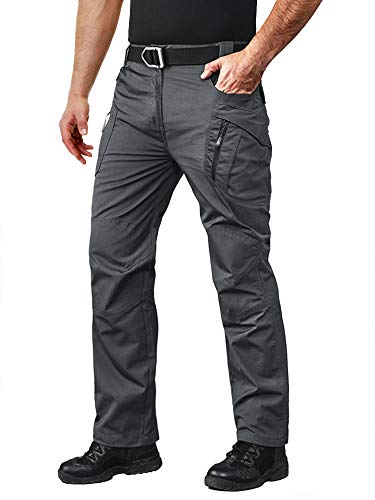 Work Pants for Men Construction Stretch Camping Pants Mens Slim Rock Climbing Pants Mens Tactical Pants Cargo Grey