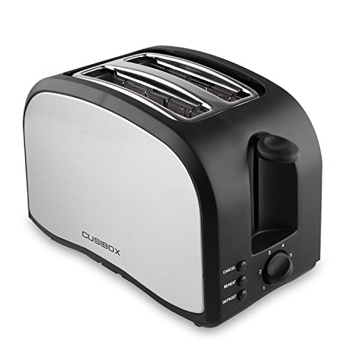 Slice Toaster, CUSIBOX Compact Brushed Stainless Steel 2-Slice Toaster
