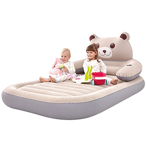 WeTong Twin Size Air Mattress, Inflatable Toddler Travel Bed Firm Airbed Portable Blow Up Matress for Kids with Detachable Backrest Electric Pump for Home Travel Camping Hiking Backpacking 79x47x8in