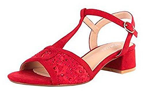 Faux Shoes Fashion Peeptoe Sandals SHU Block L60 Red CRAZY Ladies Heel Womens Bridal Low Dressy Diamante Suede tt6qFz