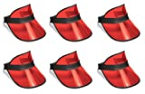 Beistle S60313-RAZ6 Clear Red Plastic Dealer's Visors 6 Piece, OSFM, Black/Red