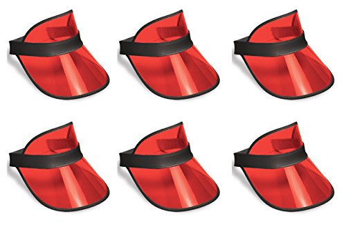 Beistle S60313-RAZ6 Clear Red Plastic Dealer's Visors 6 Piece, OSFM, Black -