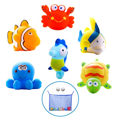 - Mara's Box Large Educational Water Squirties Ocean Animals. 6 Bath Toy Pack. Bath Organizer + 4 Strong Suction Cups with Hooks. Fun Bathtub Floating Squirter Toys for Baby, Toddlers, Kids