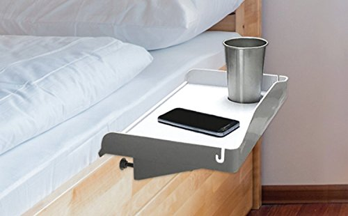 Attachable Bedside Tray To Use as Kids Nightstand, Bunk Bed Nightstand, Dorm Room Nightstand for Students and Bed Shelf for Drink, Laptop, Tablet, Books, Remote, Alarm Clock & Phone - Plastic (White)