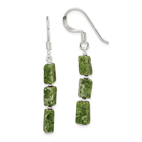 14k Serpentine Earrings - Mia Diamonds 925 Sterling Silver Green Russian Serpentine Stone Earrings (42mm x 4mm)