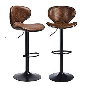 DICTAC Réglable Tabouret de Bar pivotant Tabouret Bar lot 2 Vintage Marron Tabouret Bar Cuisine Industriel Chaises de…